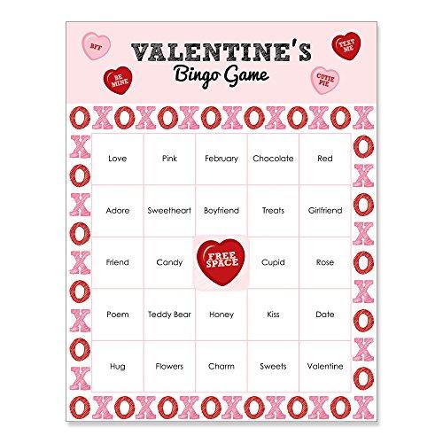 Conversation Hearts - Valentine's Day Party Bingo Game & Bar Bingo Game Cards - 16 Count ()