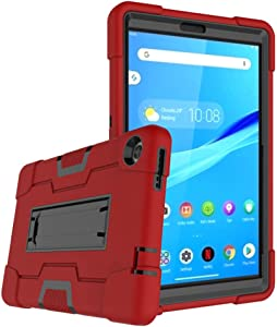 Cherrry for Lenovo Tab M8 8.0 Inch Case,Hybrid Three Layer Full-Body Shockproof Armor Defender Full-Body Rugged Protective Case Cover with Stand for Lenovo Tab M8/M8 Smart Tab 8.0 Tablet (Red/Black)