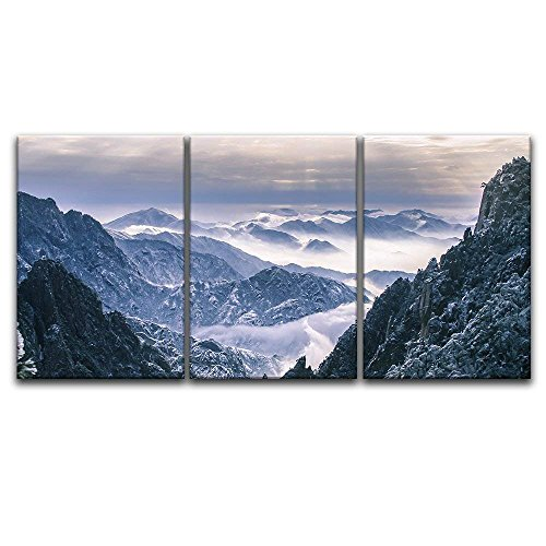 - wall26 3 Panel Canvas Wall Art - Landscape of Snow Covered Mountains - Giclee Print Gallery Wrap Modern Home Decor Ready to Hang - 24