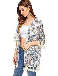 SHEIN Kimono Suelto con borlas y Estampado de Hojas de la Selva, para Mujer, Cachemir Estampado, L
