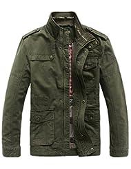 SZYYSD Mens Cotton Classic Stand Collar Military Jacket Barn Coat XS-5XL