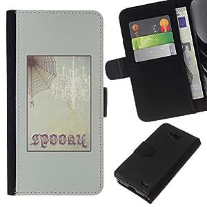 KLONGSHOP // Tirón de la caja Cartera de cuero con ranuras para tarjetas - Marco de texto de Halloween del Web de araña - LG OPTIMUS L90 //