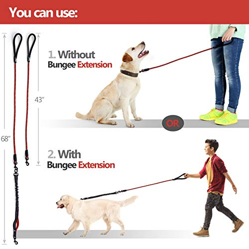Image of SparklyPets Heavy Duty Rope Leash for Large and Medium Dogs with Anti-Pull Bungee for Shock Absorption - No Slip Reflective Leash for Outside – Suitable for Dog Training and Walking (Red)