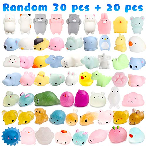 WATINC Random 70 Pcs Squishies Including 20 Pcs 2nd Generation Glitter Squishies 30 Pcs Mochi Squishies 20 Pcs Slow Rising Squishies for Mini Soft Cute Animal Cat Kid Toys Party Favors Stress Relief by WATINC (Image #2)