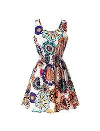 Jlong Women's Girl Summer Floral Slim Tank Sleeveless Beach mini Sundress M-XXL