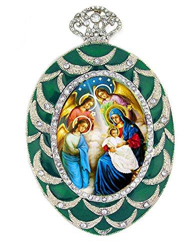 Jeweled Nativity Scene Icon Pendant Religious Christmas Ornament 4 Inch