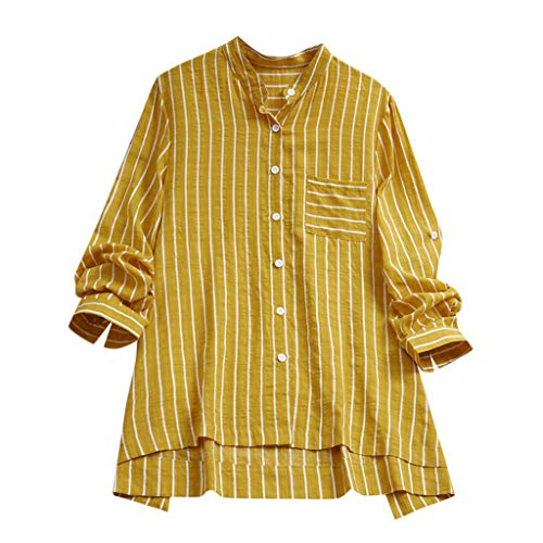 HYIRI Women Moisture Wicking Athletic Vertical Stripe Loose Linen Button Tunic Shirt Blouse Yellow -