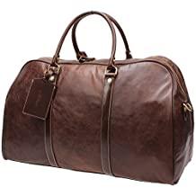 Iblue Genuine Leather Extra Large Overnight Business Travel Duffel Bag Carry on Garment Tote Luggage Bag 22 Inch #B002 (XL, dark brown)