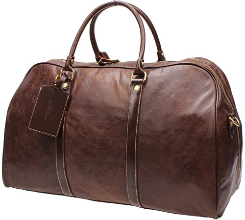 Iblue Genuine Leather Overnight Duffel Travel Bag Business Garment Tote 22in #B002 (XL, dark brown) by iblue