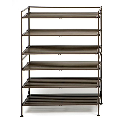 Seville Classics 3-Tier Resin Slat Utility Shoe Rack (2-Pack), Espresso (Slat Back 5 Piece)