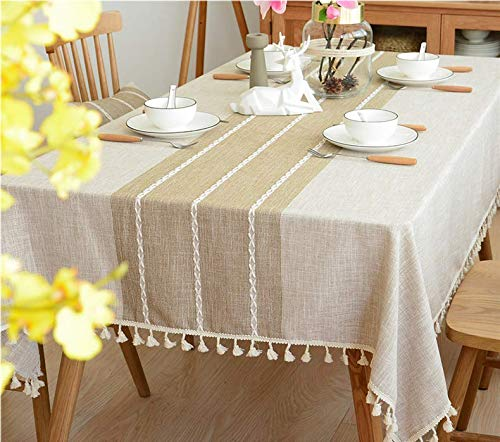 - Could2018 Tablecloth with Tassel Heavy Duty Cotton Linen Fabric Dust-Proof Table Cover for Kitchen Dinning Tabletop Decoration (Square, 55 x 70 Inch) (Yellow Stripe)