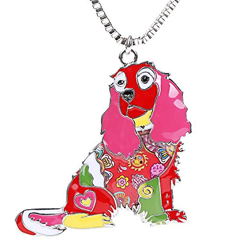Cavalier King Charles Spaniel Dog Stainless Steel Chain Statement Necklace for Women Gifts - Cavaliers Paper