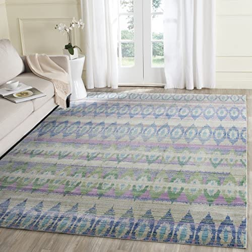 Safavieh Valencia Collection VAL220M Purple and Multi Distressed Bohemian Silky Polyester Area Rug 9 x 12
