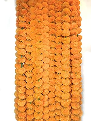 5 Pack Artificial Orange Marigold Flower Garlands 5 ft Long- for use in Parties, Celebrations, Indian Weddings, Indian Themed Event, Decorations, House Warming, Photo Prop, Diwali, Ganesh Fest