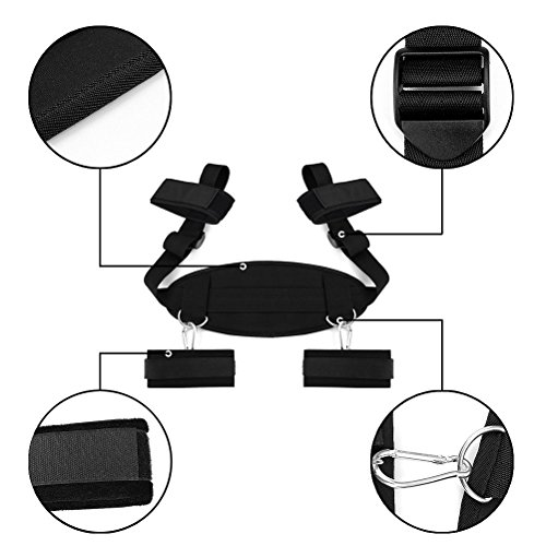 BDSMS Bed Restraints Kit Wrist Thigh Leg Restraint System Hand & Ankle Cuff Bed Restraints Sex Bondage Position Support Sling Sex Play (Black) by Double Couple (Image #3)