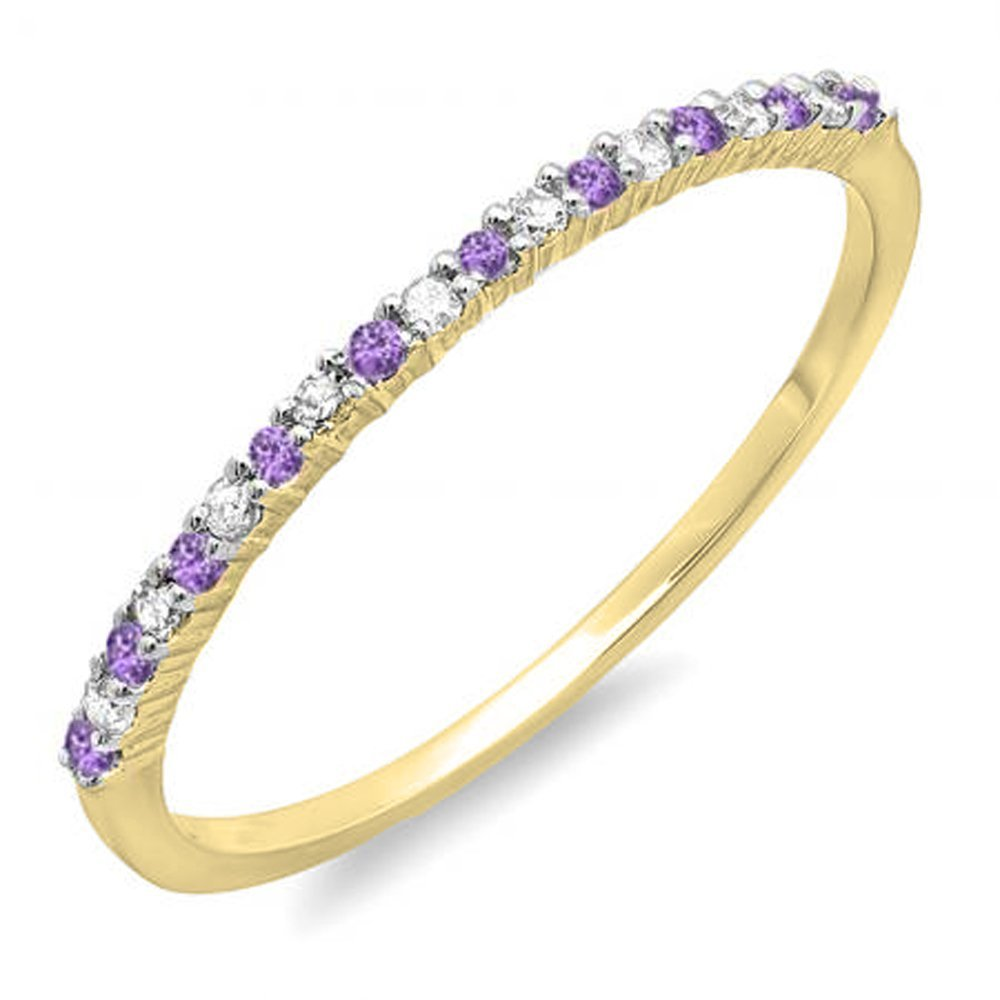 14K Yellow Gold Round Amethyst & White Diamond Ladies Anniversary Wedding Band Stackable Ring (Size 10)