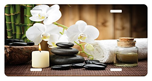 Spa License Plate by Ambesonne, Asian Spa Style Arrangement with Zen Stones Candle Flowers and Bamboo Art, High Gloss Aluminum Novelty Plate, 5.88 L X 11.88 W Inches, White Green and Black