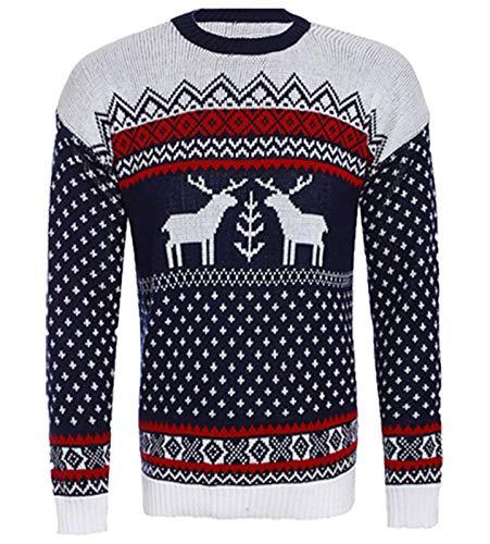 HOMMES et de l Reindeer No NEUF l rouge UNISEXE Retro haut Two FEMMES neige flocon no tricot Rennes nzEqIS