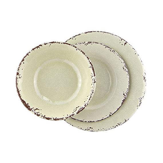 Rustic Style 12-Piece Melamine Dinnerware Dishes Sets,Service for 4,Break-resistant and Lightweight,Ivory -  - kitchen-tabletop, kitchen-dining-room, dinnerware-sets - 51MrR4td70L. SS570  -
