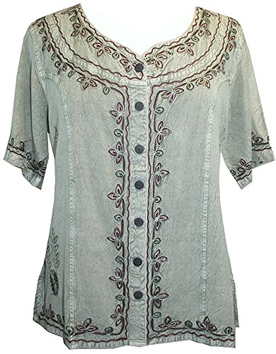 Agan Traders 109 B Womens Gypsy Boho Medieval Button Down Shirt Top Blouse