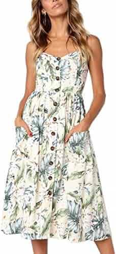 56ee772c1903f Rela Bota Women's Sundress Summer Floral Bohemian Spaghetti Strap Button  Down Swing Midi Dress with Pockets