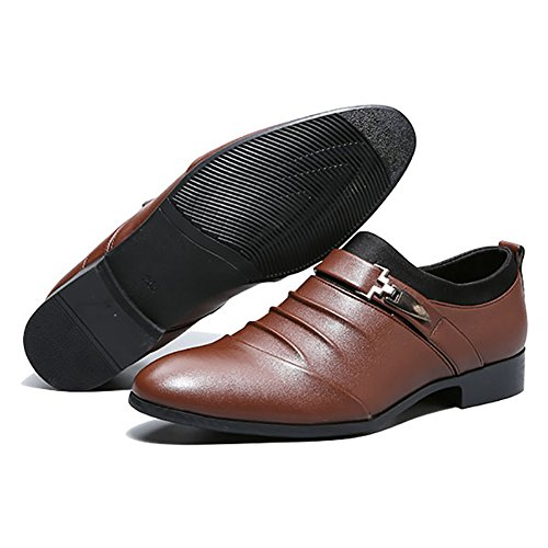 Formal Oxfords Brown British Mens Pointed Shoes DEARWEN Toe Wedding Aw6XTPHxq