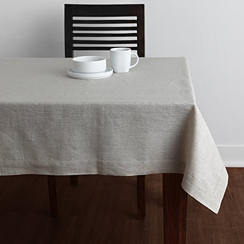 Solino Home 100% Linen Tablecloth - 60 x 90 Inch Natural, Natural Fabric, European Flax - Athena Rectangular Tablecloth for Indoor and Outdoor use ()