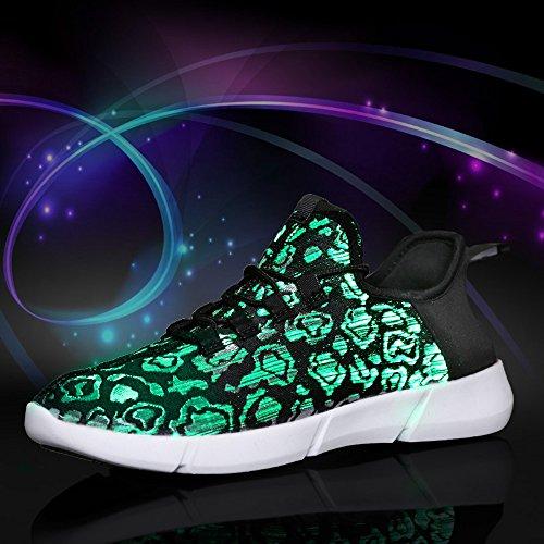 Tanken Ramar Fiberoptisk Ledde Lyser Skor För Kvinnor Män Usb Uppladdningsbara Blinkande Mode Sneaker (kid Storlek / Kvinnor Storlek / Män Storlek) Svart