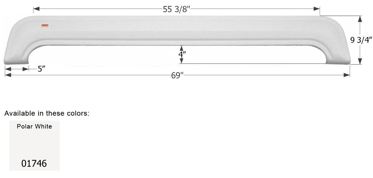 ICON KZ Tandem Fender Skirt FS1746, Polar White