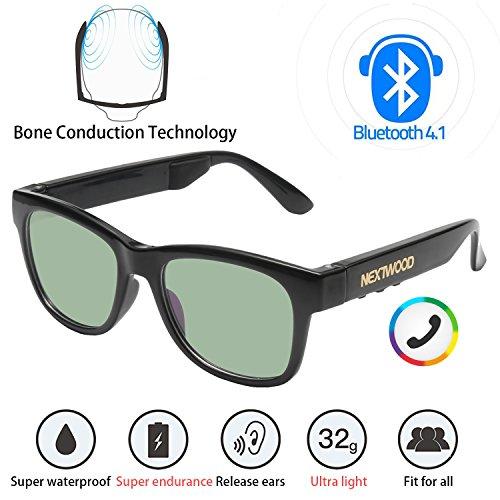 Bluetooth Headphones Wireless Stealth Headphones Glasses Sunglasses Bone Conduction Waterproof Intelligent Songs Artifact 6 Color Microphone Phone(Green - Sunglasses Music