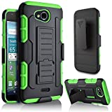 Kyocera Hydro Air Case, Starshop [Heavy Duty] Full Protection Dual Layers Hybird Case with Kickstand and Locking Belt Swivel Clip Premium Screen Protector (Green)