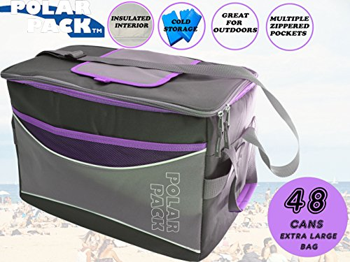 POLAR PACK Extra Large 48 Can Collapsible Cooler Bag Soft Portable Insulated Picnic Bag Outdoor Indoor Travel Lunch Bag for Camping Hiking Events School Travel Concerts & Sports (BLACK/CHAR/PURPLE)