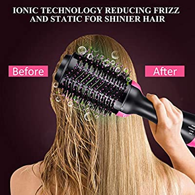 Hair Dryer Brush, Enjoyee Professional 3 in 1 One Step Hair Dryer and Styler Volumizer Hot Air Brush with 6 Colorful Hair Clips and 1 Tail Comb for Hair Dry Straighten Curl and All Hairstyle Need