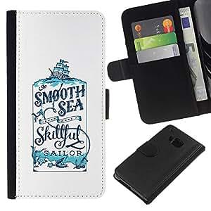 All Phone Most Case / Oferta Especial Cáscara Funda de cuero Monedero Cubierta de proteccion Caso / Wallet Case for HTC One M9 // Sailor Smooth Cologne Sea Smooth