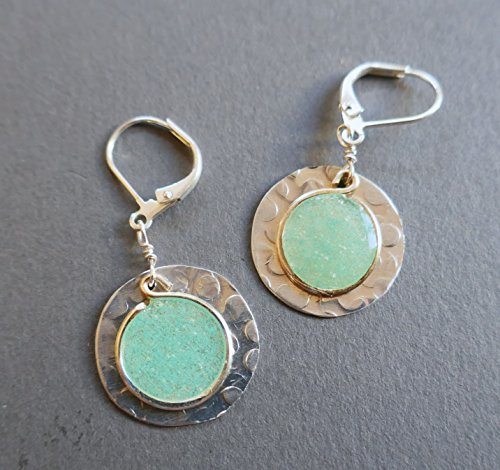 womens lightweight silver tone large sapphire lever back disc earrings