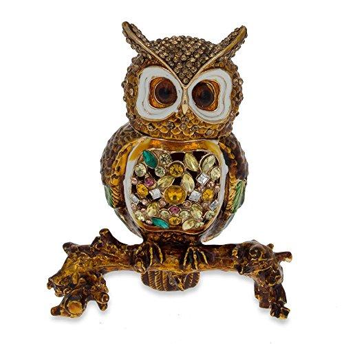 (BestPysanky Jeweled Owl Trinket Box Figurine 3.4 Inches)