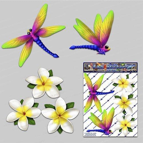 Libellule blanc frangipani plumeria petite fleur animal pack voiture autocollants - ST00064WT_SML - JAS Autocollants