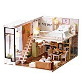 Spilay DIY Miniature Dollhouse Wooden Furniture Kit,Handmade Mini Modern Apartment Model with Dust Cover & Music Box ,1:24 Scale Creative Doll House Toys for Children Gift(Waiting for time) l020