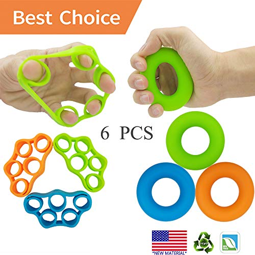 Hand Grip Strengthener, Finger Exerciser, Grip Strength Trainer (6 PCS)*New Material*Forearm Grip Workout, Finger Stretcher, Relieve Wrist Pain, Carpal Tunnel, Trigger Finger, Mallet Finger and More. (Workouts To Get A Six Pack Fast)