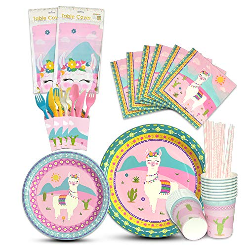 WERNNSAI Llama Tableware Set - Alpaca Pink Party Supplies for Girl Kids Birthday Baby Shower Includes Cutlery Bag Table Cover Plates Cups Napkins Straws Utensils Serves 16 Guests -