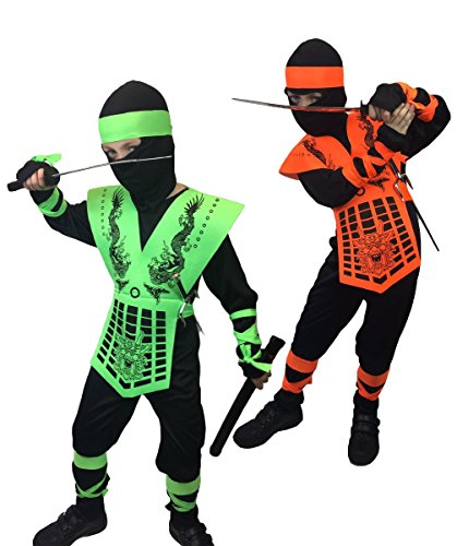 Kids Neon Mortal Combat, Ninja Costume, Sub Zero, GI Joe, Action, Costume (6-8 Years, Neon (Ninja Child Costume Kit)