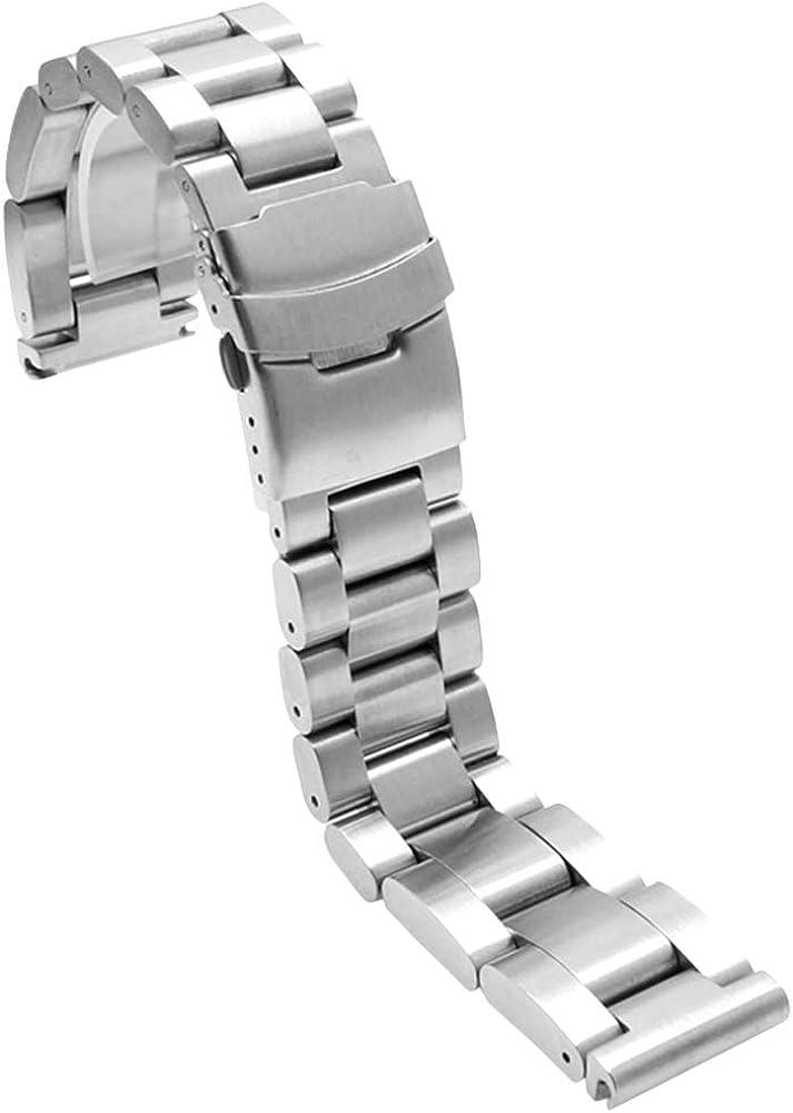 Bracelet de montre ultra épais et robuste 22mm, 24mm, 26mm en acier inoxydable de qualité supérieure, style classique, avec double boucle déployante, noir, argenté Argenté.