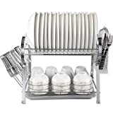MICOE 2 Tier Dish Drainer Drying Rack Cutlery & Cup Holders Chrome (Small Image)