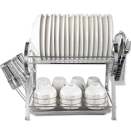 MICOE Dish Drainer Drying Rack with Cutlery holder and Cup holder 2 Tier (Dish Rack Cup)