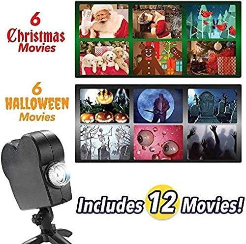 KNFBOK Weihnachten Schneeflocke Projektionslichter Animiertes Muster LED Halloween Fenster Projektor 12 Film Festival Screen Lights Outdoor Gartendekoration Weihnachtsbeleuchtung farbig