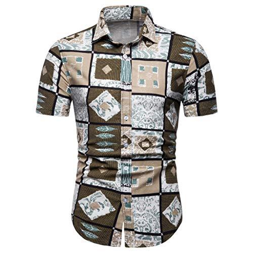 Toimothcn Vintage Aloha Shirt, Men's Flower Printed Short Sleeve Button Down Hawaiian Shirt (Yellow1,XXXXL) -