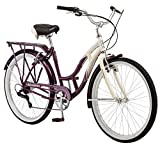 Schwinn Sanctuary Women's Cruiser Bicycle, 26-Inch Wheels, 16-Inch Frame, 7-Speed, Cream/Purple