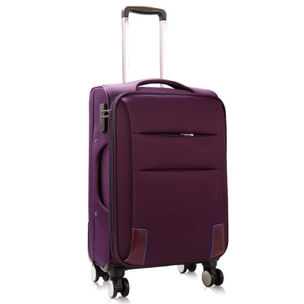 スーツケーストロリーケースユニバーサルホイールオックスフォードソフトトラベルクロスボックス学生スーツケース。 軽量ABSスーツケース4スピナーホイール 41*26*67cm B07SWVY2ZR Purple