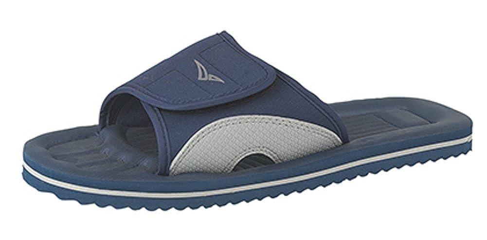 Homme en Caoutchouc à Enfiler Douche Plage Piscine extérieure Flip Flops Mules Sandales Bleu Marine