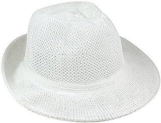 eBuyGB Unisex Sommer Strohhut weiß Einheitsgröße